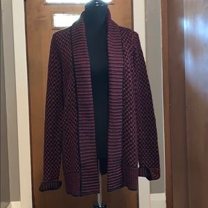 Maroon and black chunky open front cardigan